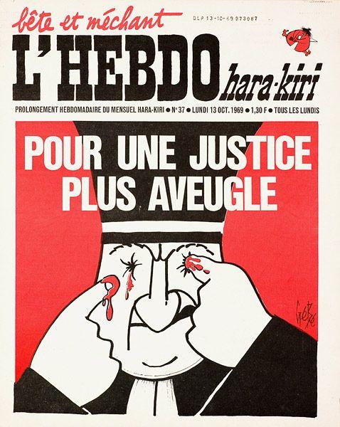 """""""Pour une justice plus aveugle"""", Gébé, Hara-Kiri, 13 octobre 1969."""