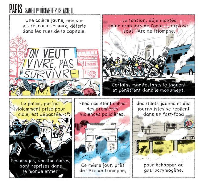 """Extrait du reportage dessiné """"Accuser le coup"""", signé par la journaliste Claire Rainfroy et le dessinateur Benjamin Adam pour le hors-série de La Revue Dessinée sur les violences policières"""
