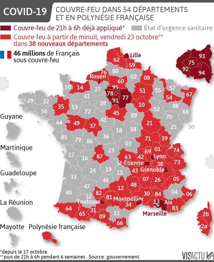 Coronavirus. 54 départements, 46 millions de Français sous couvre-feu