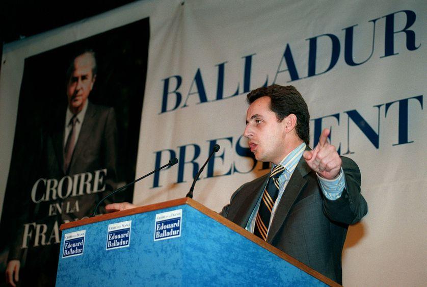 Nicolas Sarkozy le 28 février 1995 dans les Ardennes, au cours d'un meeting en faveur d'Edouard Balladur.