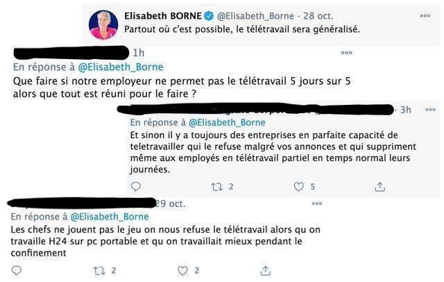 Des messages d'internautes, postés depuis hier soir sous un tweet de la ministre du Travail, déplorant que leur entreprise ne respecte pas le télétravail. / Captures d'écran