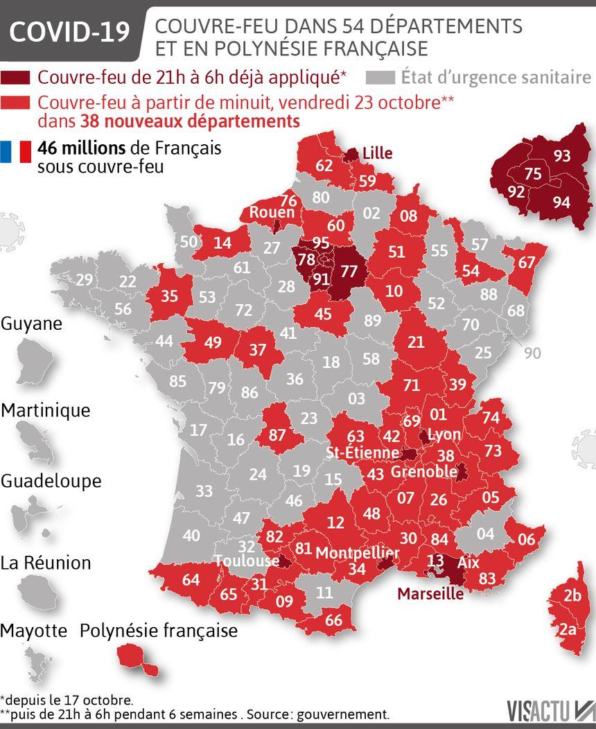 Carte Coronavirus 38 Departements Sont Soumis A Leur Tour A Un Couvre Feu