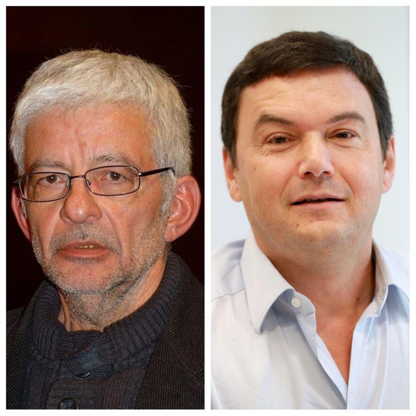 L'économiste Michel Husson à gauche et son collègue Thomas Piketty à droite
