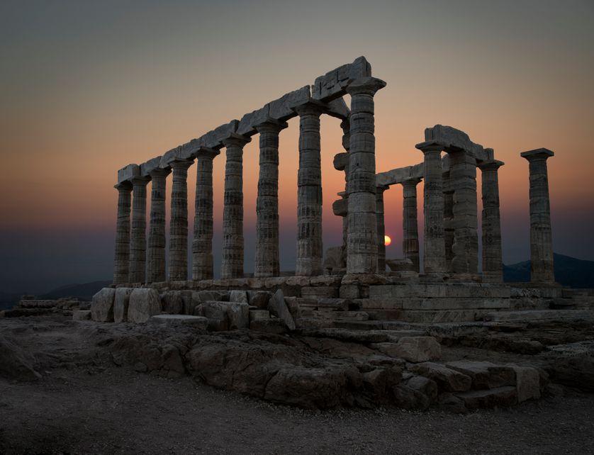 Le Temple de Poséidon au Cap Sounion (Grèce), édifié en 444 av. J.C