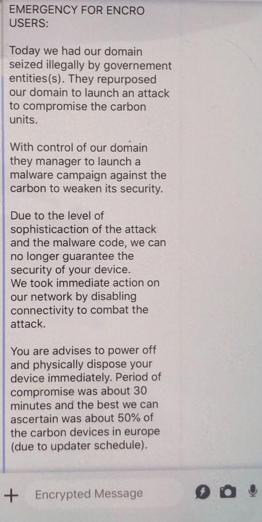 Capture d'écran du message envoyé par EncroChat à leurs utilisateurs, avant d'arrêter leurs services, le 13 juin 2020.