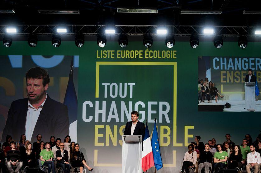 Yannick Jadot, candidat à la tête du parti écologiste français Europe Écologie Les Verts (EELV) lors des élections européennes de 2019.