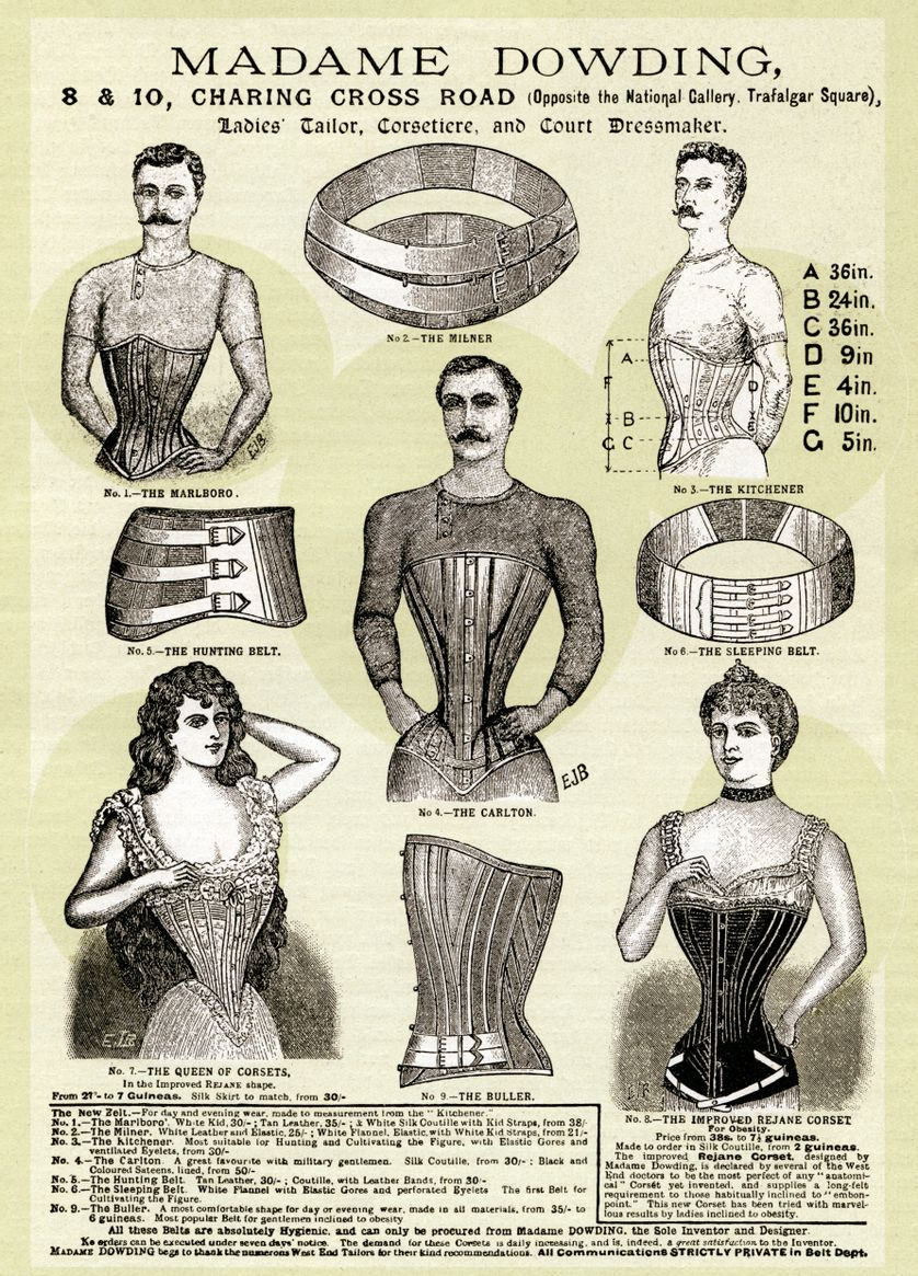 Publicité de l'époque victorienne pour les corsets pour hommes et femmes. Image coloriée numériquement à partir d'une publicité imprimée sur un magazine. Royaume-Uni, Londres 1899.