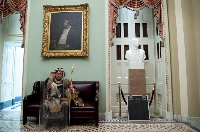 Durant l'assault contre le Capitole, le 6 janvier 2021 à Washington, d'autres costumes de peaux de bête apparaissent au détour des images.