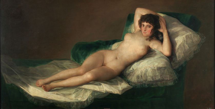 """""""La Maja nue"""", du peintre espagnol Francisco de Goya, exposée au Musée du Prado, à Madrid."""