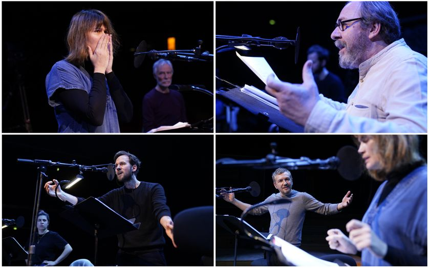 """Les acteurs de la Comédie-Française lors de l'enregistrement de """"Mithridate"""" de Jean Racine, au studio 104"""