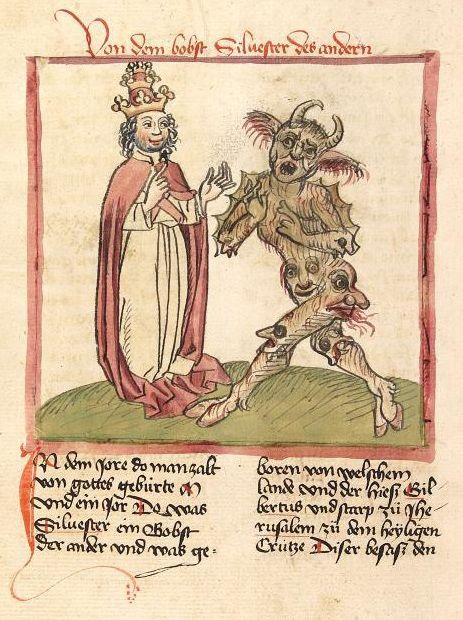 Gerbert d'Aurillac (Sylvestre II) dialoguant avec le diable, car il a introduit les chiffres indo-arabes