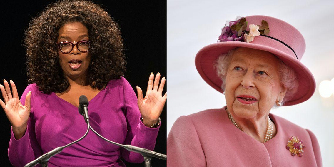 Montage photo avec Oprah à gauche et la Reine d'Angleterre à droite