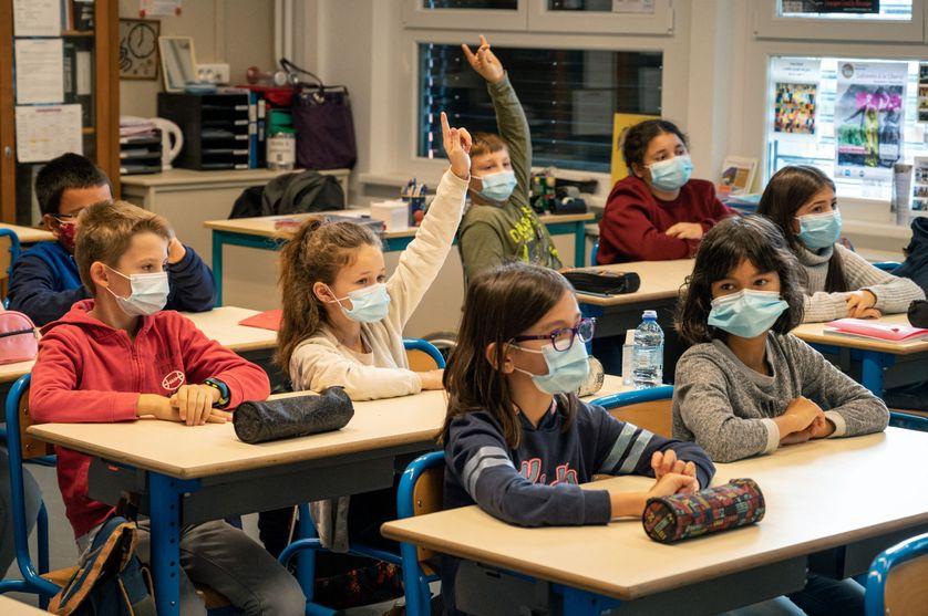 Élèves d'une école à Bischwiller, le 2 novembre 2020.