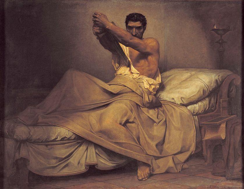 La mort de Caton d'Utique, Jean-Paul Laurens, 1863. Musée des Augustins de Toulouse. (Wikipédia).