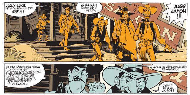 Détail d'une planche de Wanted Lucky Luke de Matthieu Bonhomme
