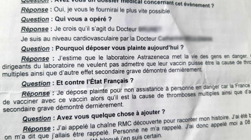 François Teychené porte plainte contre l'Etat Français pour non assistance à personne en danger et contre le laboratoire AstraZeneca pour mise en danger de la vie d'autrui.
