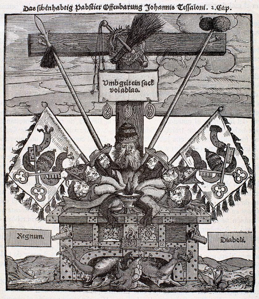 """""""La papauté à sept têtes"""", gravure sur bois représentant un monstre diabolique composé de têtes du pape, de cardinaux et de moines sous un certificat d'indulgence, publiée en réponse à une image représentant Luther avec sept têtes, vers 1530"""