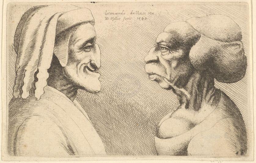 Deux têtes déformées, par Wenceslaus Hollar d'après Léonard de Vinci, 1645. Le personnage de droite pourrait être une caricature de Dante.