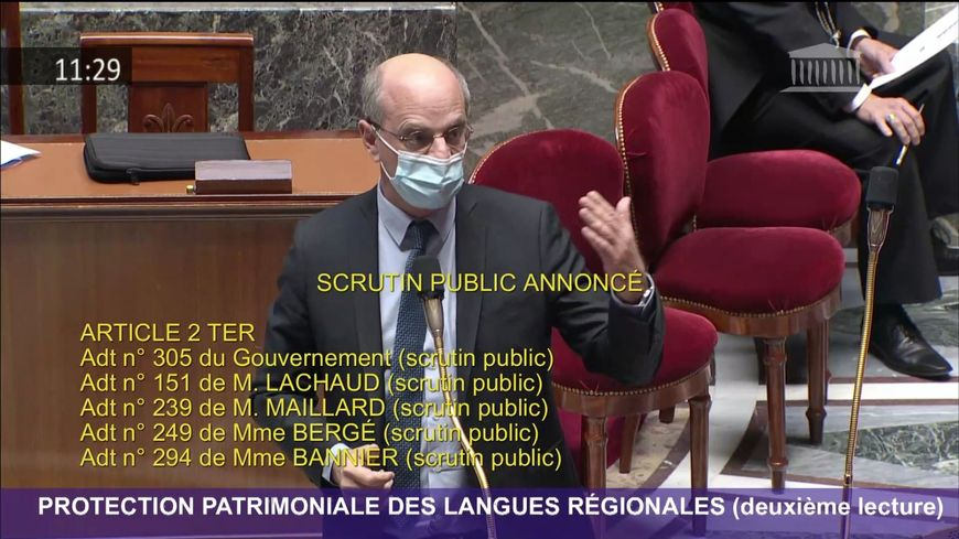 Le ministre de l'éducation Jean-Michel Blanquer s'est opposé à l'article portant sur le système immersif dans l'enseignement public.