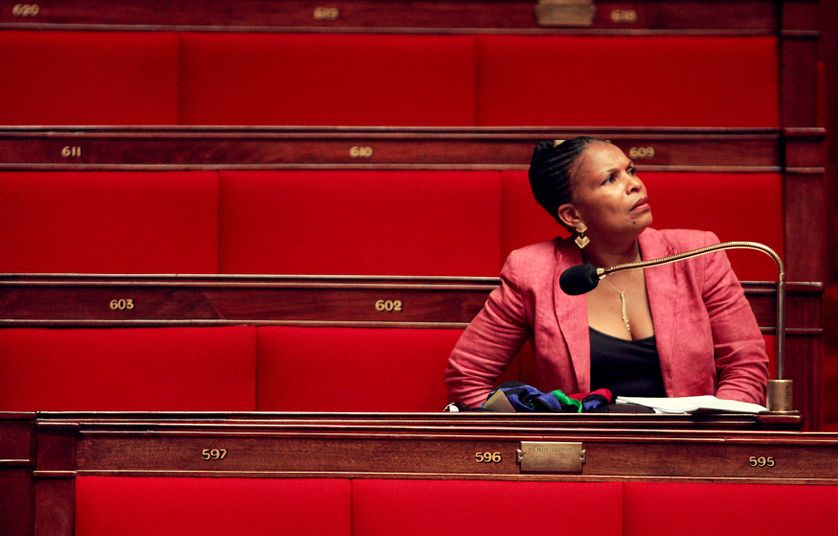 Christiane Taubira dans l'hémicycle de l'Assemblée nationale à Paris en 2005.