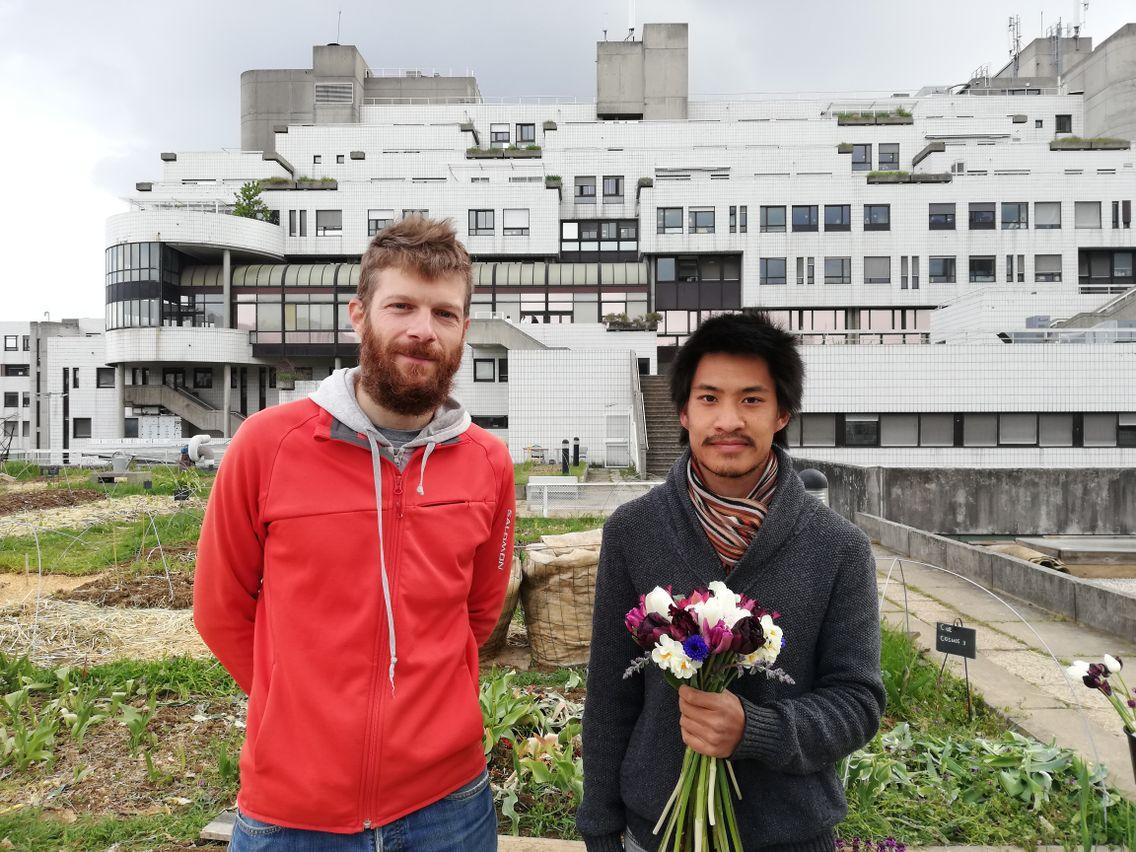 Romain Félix et Tran Phi Vu, de la Ferme Urbaine sur les toits de l'hôpital Debré à Paris