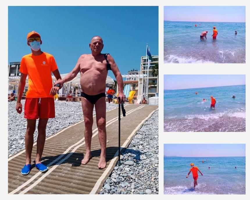 Jacques un habitué descend à l'eau accompagné de Fabien un handiplagiste