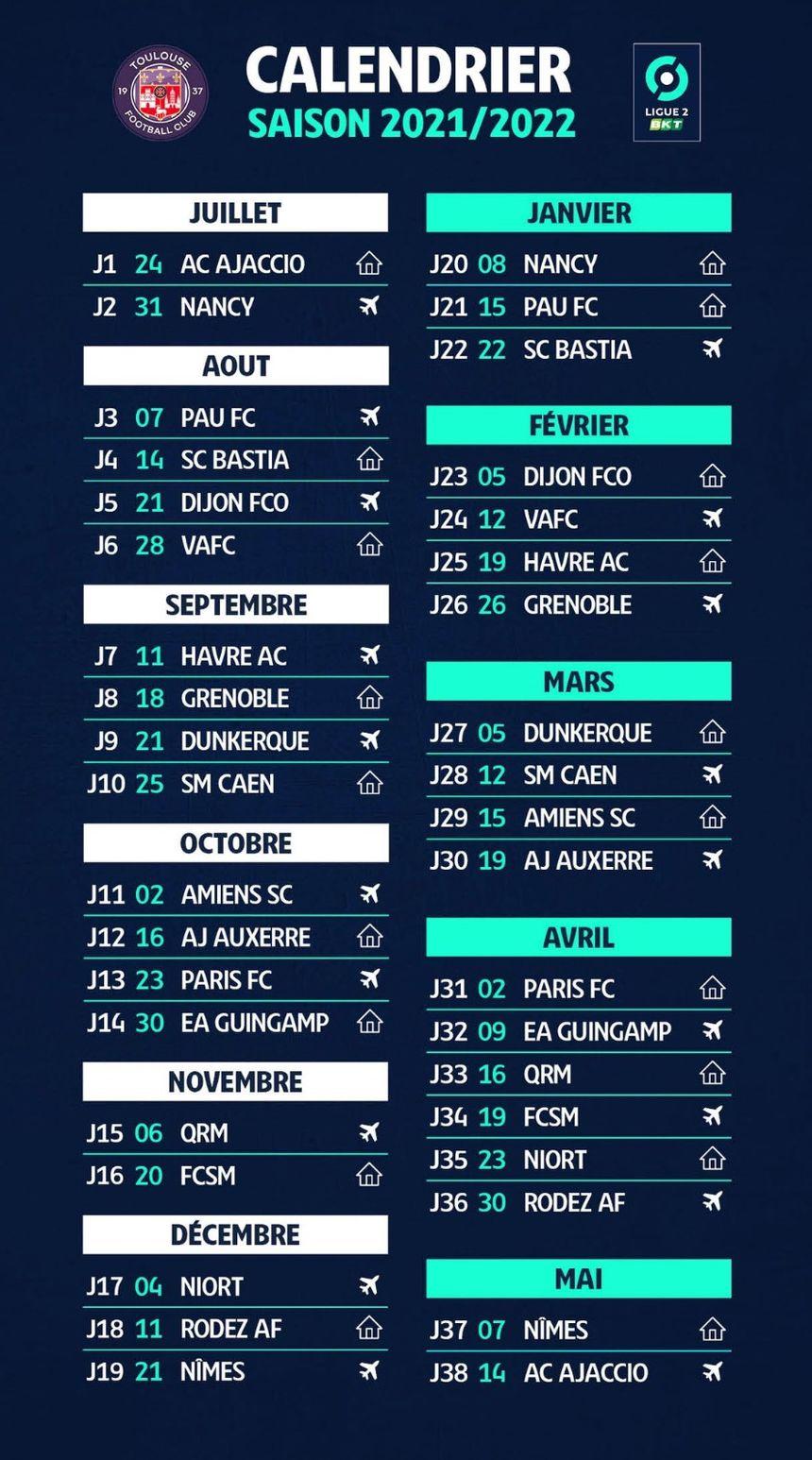 Calendrier Tfc 2022 Ligue 2 : le calendrier du Toulouse FC pour la saison 2021 2022