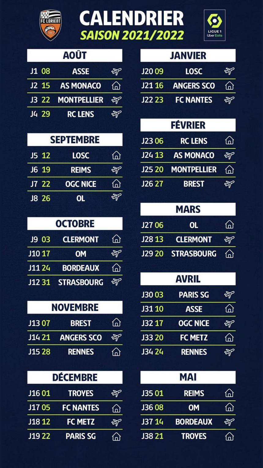 Calendrier Ligue 1 2022 Ligue 1 : le calendrier du FC Lorient pour la saison 2021 2022