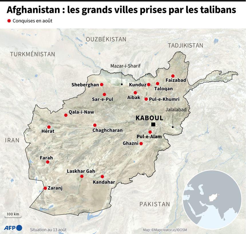 Carte de l'Afghanistan localisant les villes prises par les talibans, au 13 août