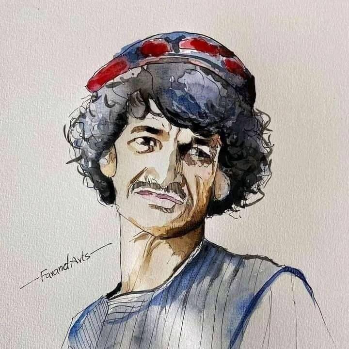 Aquarelle à la mémoire de Khasha Zwan, humoriste tué par les talibans à Kandahar.