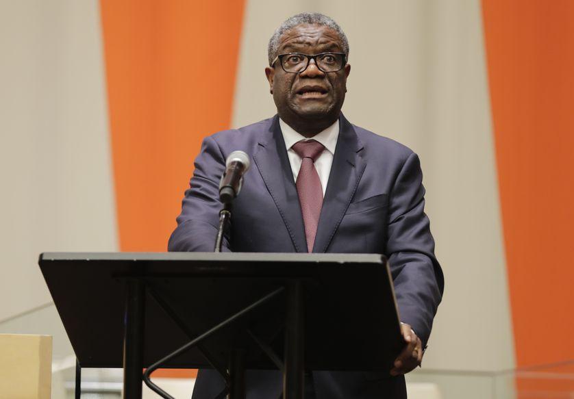 Denis Mukwege lors de l'anniversaire des dix ans du mandat sur la violence sexuelle dans les conflits au siège de l'ONU à New York (USA)  le 30 octobre 2019